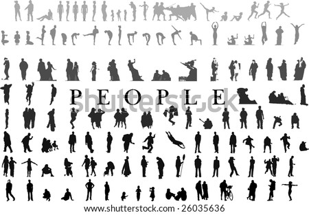hundreds of people silhouettes collection(vectors)