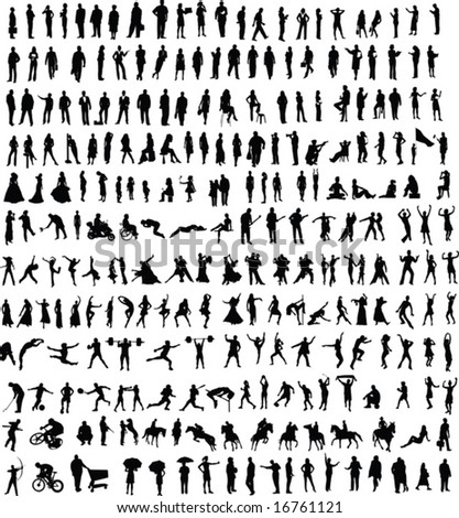 Hundreds of people silhouettes (vector)