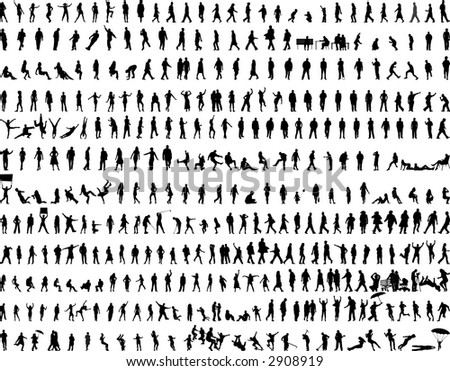 hundreds of people silhouettes vectors