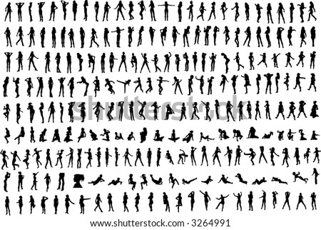Hundreds of Women and Girls Silhouettes (Vector)