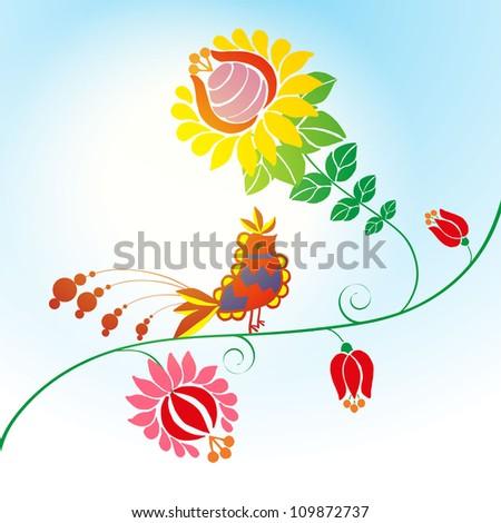 hungarian folk bird illustration with flowers