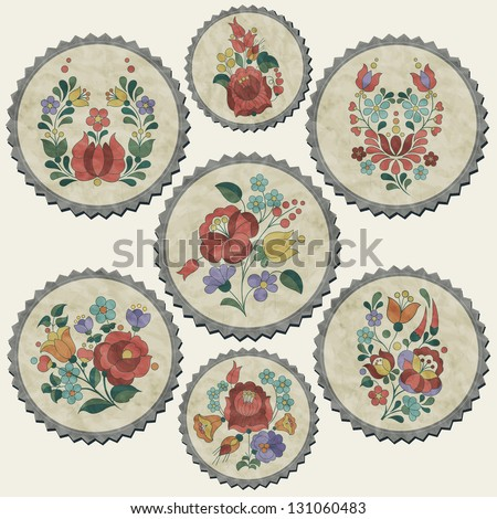 Hungarian traditional flowers decoration. Vintage style flower elements. Retro flower stickers. Easter