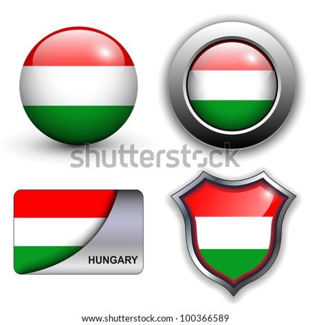 Hungary flag icons theme. - stock vector