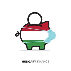 Hungary healthcare cost. Piggy bank wearing a protective face mask