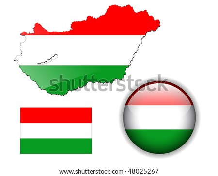 Hungary, Hungarian flag, map and glossy button, vector illustration set.