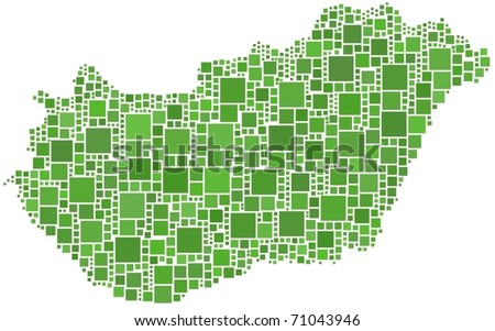 Hungary map. A number of 930 squares are inserted into the mosaic