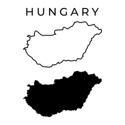 Hungary map vector - Blank Map of Hungary Simple Outline and Detailed Black Silhouette Editable Eps Isolated on White