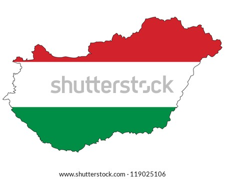 Hungary vector map with the flag inside.
