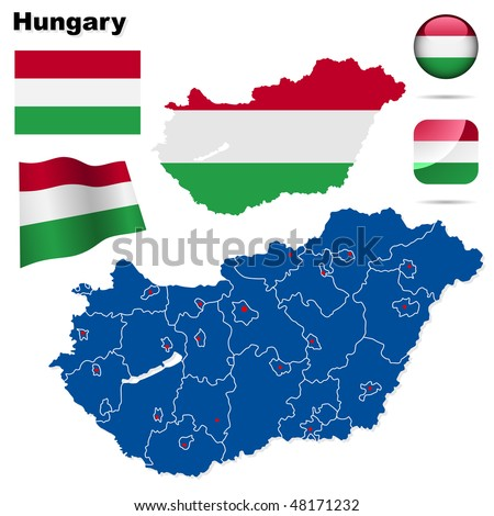 Hungary vector set. Detailed country shape with region borders, flags and icons isolated on white background.