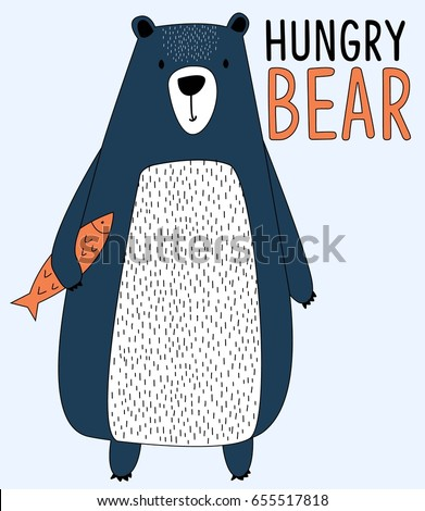 hungry bear illustration vector