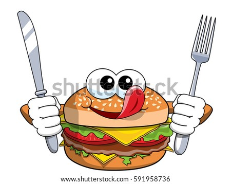 Hungry cartoon hamburger character holding fork and knife isolated