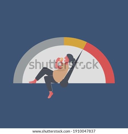 Hungry fat woman eating at night,Unhealthy eat junk food lifestyle,Eating disorder,Vector illustration. Stock photo ©