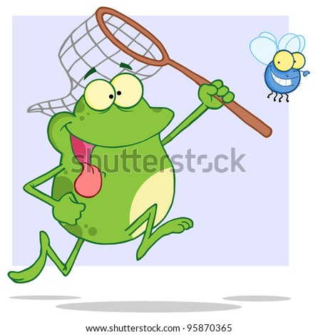 Hungry Frog Chasing Fly With A Net.Vector Illustration