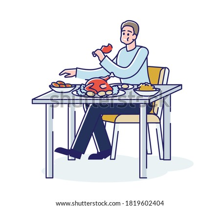 Hungry man eating a lot of food in disorder sitting at table with full mouth. Cartoon male character overeating fat food at dinner. Linear vector illustration Photo stock ©