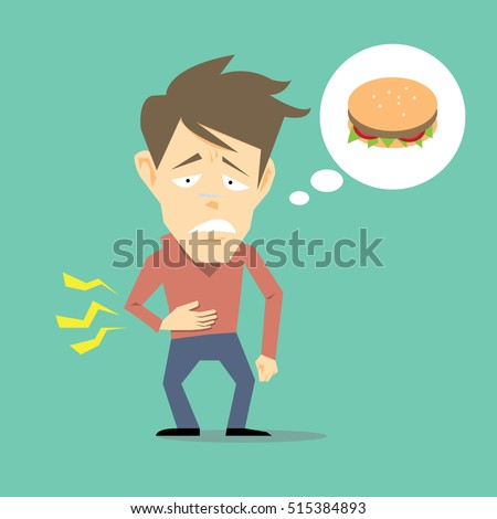 Hungry man-vector cartoon
