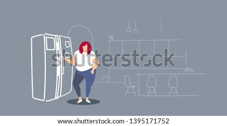 hungry overweight woman standing near refrigerator fat obese girl taking food in fridge over size concept modern kitchen interior sketch doodle horizontal