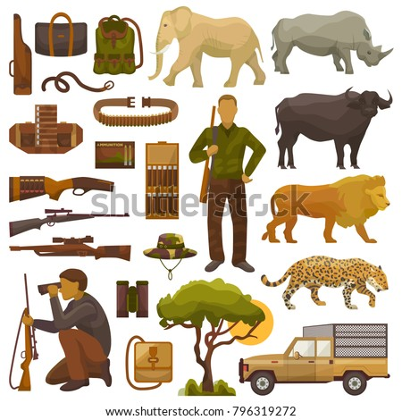 Hunt safari vector hunterman character in Africa with hunting ammunition or hunters equipment rifle shooting and african animals lion elephant wildlife set illustration isolated on white background