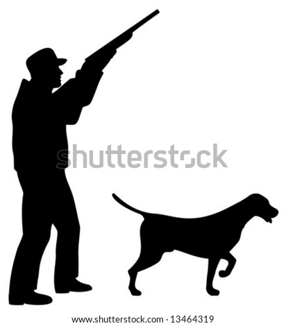 Hunter and his dog silhouette
