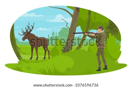 Hunter hunting elk in forest hunt. Vector flat desing of hunter man with rifle in camouflage outfit on hunting open season for wild elk antlers or deer in nature park or hunter club