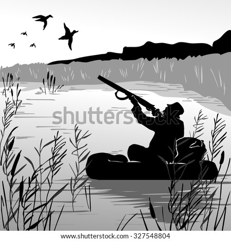 hunter in boat shooting flying
