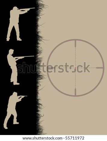 Hunter's frame with sniper sight, vector illustration