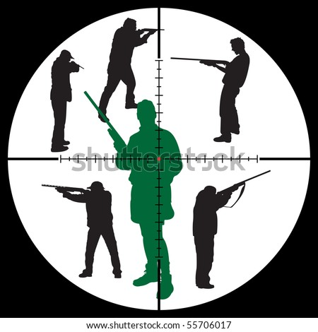 hunter's silhouettes and sniper