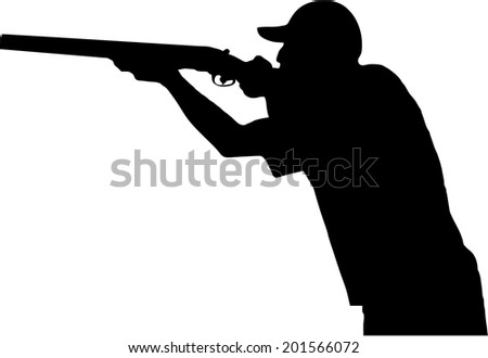 hunter shoots his gun