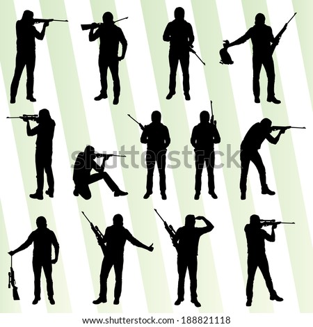 hunter silhouette set vector