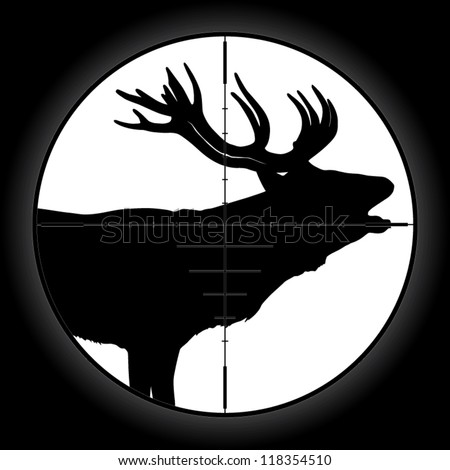 Hunter sniper scope crosshair aiming elk