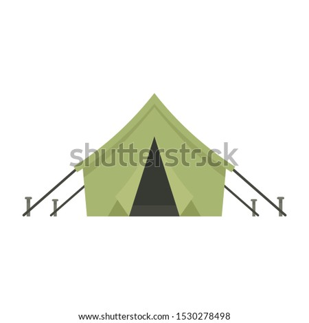 Hunter tent icon. Flat illustration of hunter tent vector icon for web design