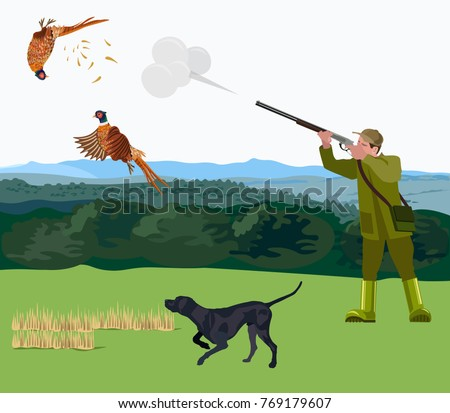 hunter with a hunting dog