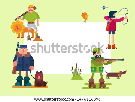 Hunters characters vector cartoon illustrations. Various hunter with riffle, gun, bow and animals. Safari hunting with lion, forest hunt and bear and duck shooting frame.
