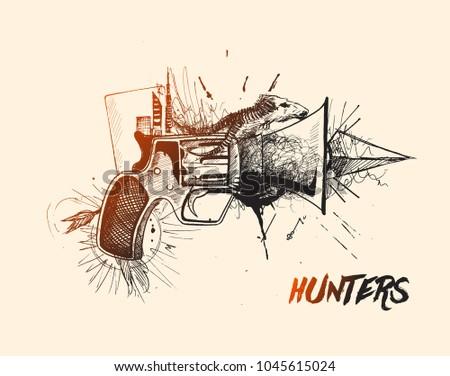 Stock Photo Hunters Conceptual Gun Pistols, Hand Drawn Sketch Vector illustration.