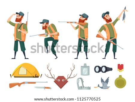 Hunters equipment. Various tools for duck hunters. Illustration of hunter and gun, equipment weapon