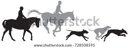 hunters on horses and running