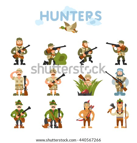 hunters vector illustration