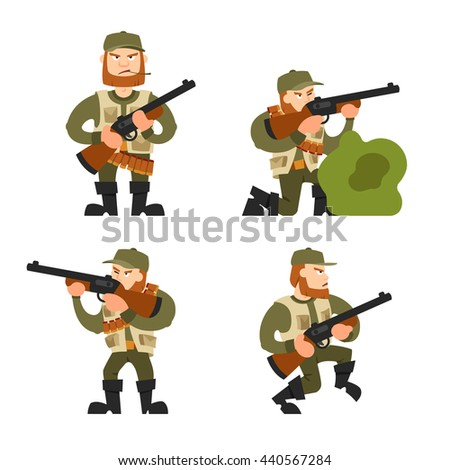 Shutterstock Hunters vector illustration. Hunters isolated on white background. Hunters vector icon illustration. Hunters isolated vector. Hunters silhouette. Hunters in cartoon style. Hunters with different gear.