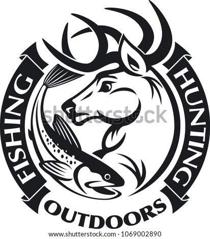 hunting and fishing vector background