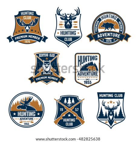 hunting club icons set vector