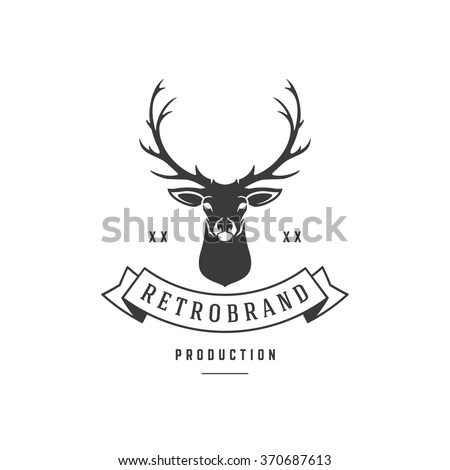 Hunting Club Logo Template. Deer Head and Horns Silhouette Isolated ...