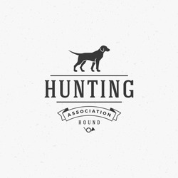 Hunting Club Logo Template. Dog Silhouette Isolated On White Background. Vector object for Labels, Badges, Logos and other Design. Dog Logo, Hunter Logo, Dog Hunting, Dog Icon, Dog Silhouette.