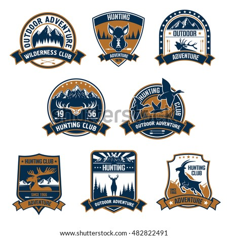 hunting club shield icons set