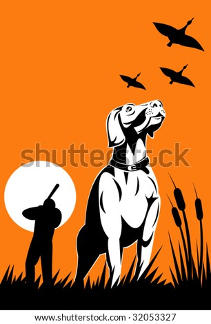 hunting dog with hunter in the