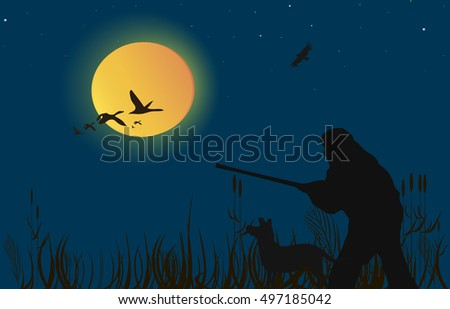 Hunting for ducks, geese at sunset .Vector