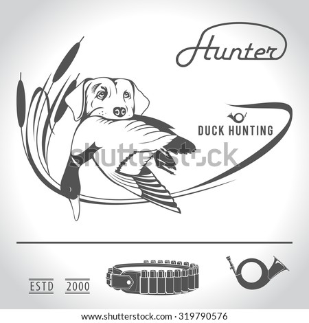 hunting logo hunting dog with a