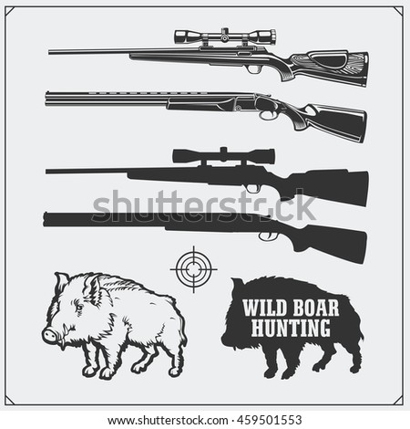 hunting set vector monochrome