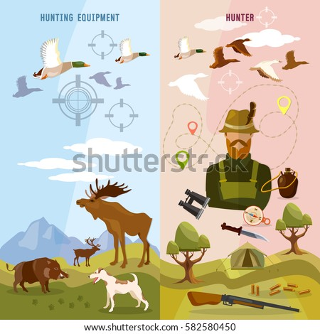 Shutterstock Hunting sport banners, hunter with rifle and dog in forest, duck hunting ammunition binoculars, hunting knife vector