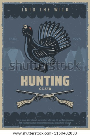 Hunting sport club vintage banner with forest bird and hunter rifle. Wood grouse or capercaillie game bird with fanned tail feather retro poster, adorned by weapon gun and grunge tree on background