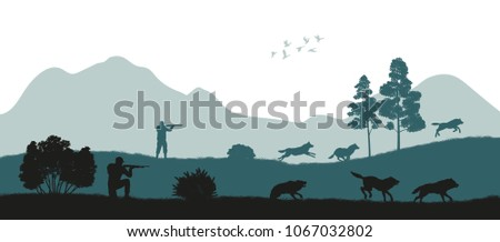 Hunting the wolves. Black silhouette of hunters on forest background. Wildlife landscape. Panorama of shotgun mans safari. Season expedition. Vector illustration