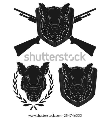 hunting trophy wild boar head